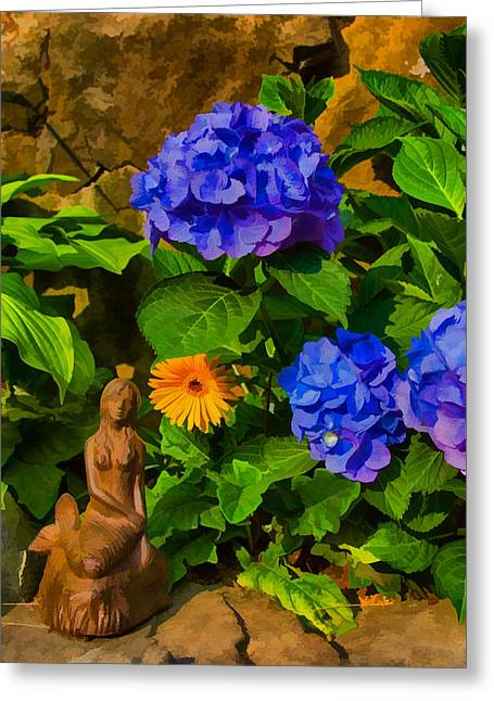 Solitude Greeting Cards - Summer flower garden Greeting Card by Jeff Folger