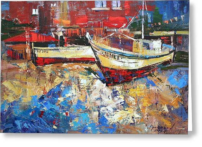 Boats On Water Greeting Cards - Summer for Juliet Greeting Card by Anastasija Kraineva