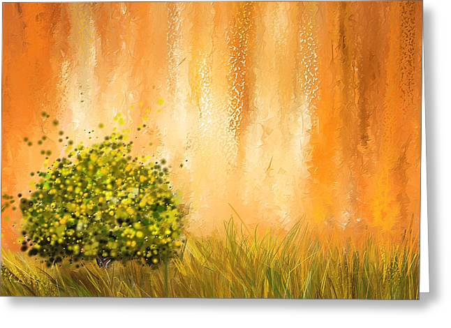 Beauty In Nature Paintings Greeting Cards - Summer- Four Seasons Wall Art Greeting Card by Lourry Legarde