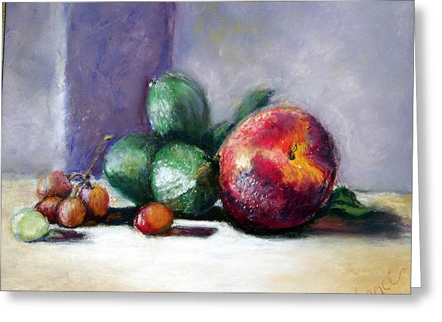 Stil Life Pastels Greeting Cards - Summer Fruit Greeting Card by Laurie Paci
