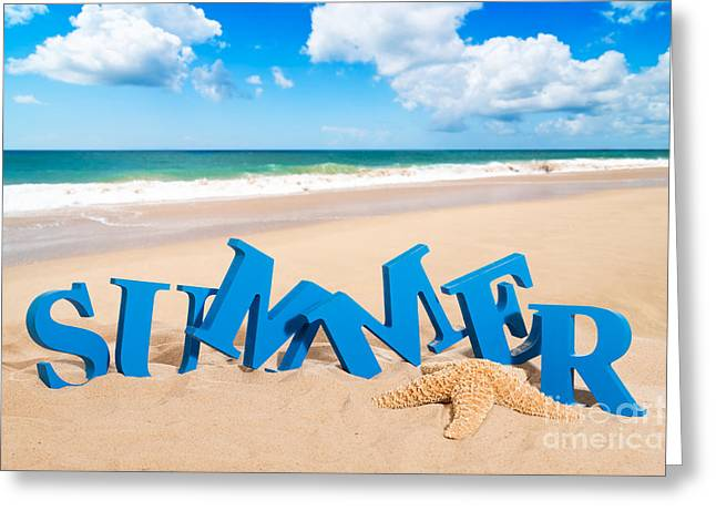 Words Background Greeting Cards - Summer Fun Greeting Card by Amanda And Christopher Elwell