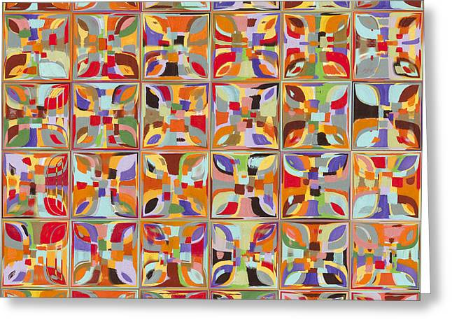 Glass Wall Greeting Cards - Summer Fun Confetti. Modern Mosaic Tile Art Painting Greeting Card by Mark Lawrence