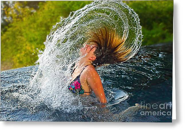 Girl In Water Greeting Cards - Summer Fun  Greeting Card by Kaye Menner