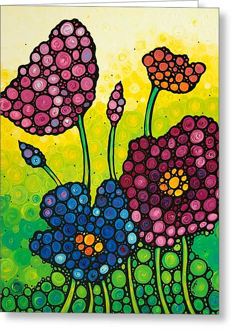 Wall Art Framed Prints Greeting Cards - Summer Garden Greeting Card by Sharon Cummings