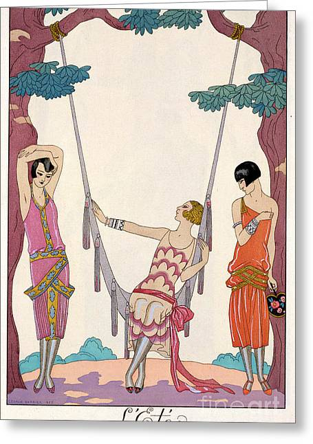 Short Hair Greeting Cards - Summer Greeting Card by Georges Barbier