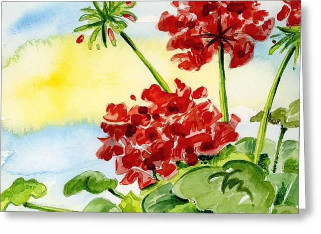 Anniesdoodlebugz Greeting Cards - Summer Geraniums Greeting Card by Annie Troe