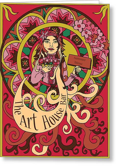 Menu Illustrations Greeting Cards - Summer Girl Menu  Greeting Card by Karen Elzinga
