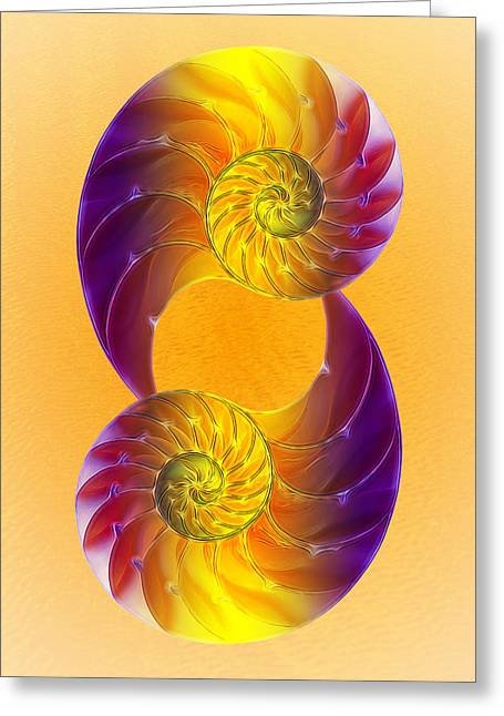 Shell Pattern Greeting Cards - Summer Glow - Vertical Greeting Card by Gill Billington