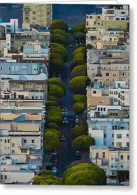 Summer Greeting Cards - Summer Green on Lombard Street Greeting Card by Scott Campbell