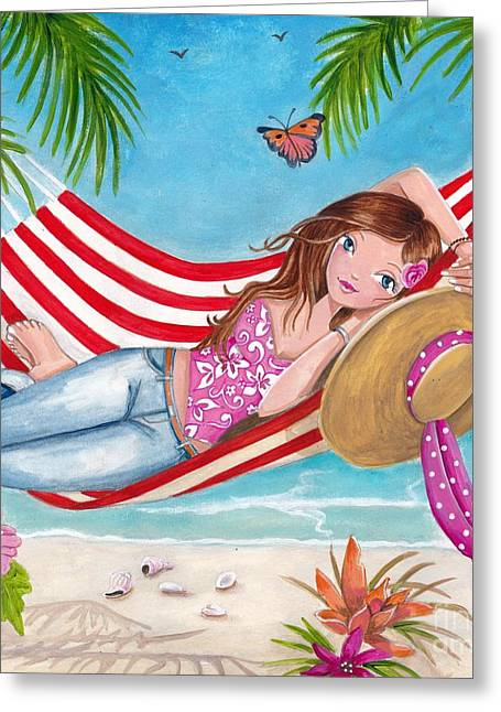 Summer Hammock Greeting Card by Caroline Bonne-Muller