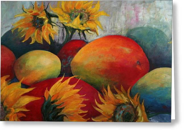 Mango Paintings Greeting Cards - Summer Harvest Greeting Card by Patricia Maguire