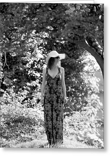 Maxi-dress Greeting Cards - Summer Hat Greeting Card by Simon Dack