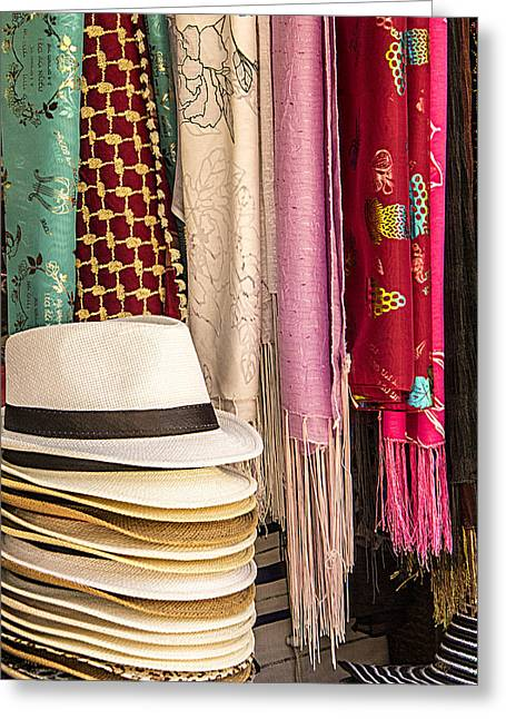 Artisan Made Greeting Cards - Summer Hats And Colorful Scarves Greeting Card by Ben and Raisa Gertsberg