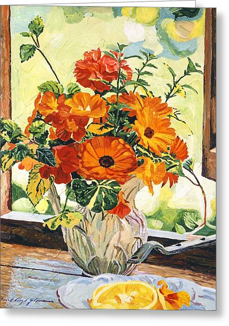 Pitcher Paintings Greeting Cards - Summer House Still Life Greeting Card by David Lloyd Glover