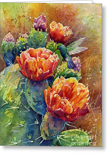 Cactus Flowers Greeting Cards - Summer Hummer Greeting Card by Hailey E Herrera