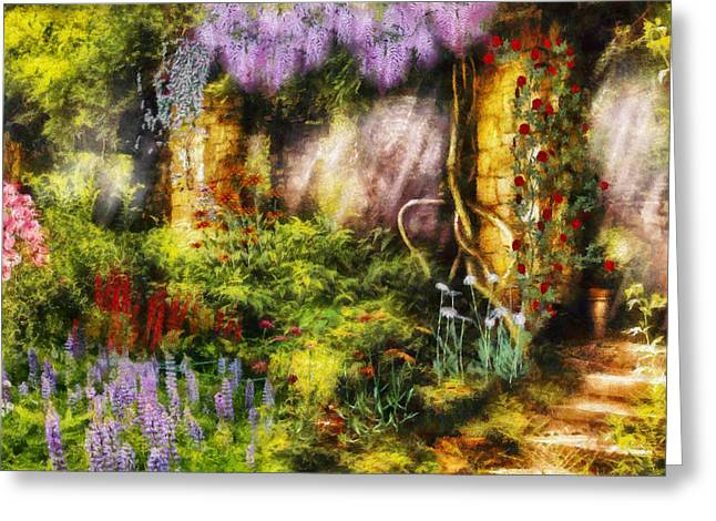 Garden Scene Digital Art Greeting Cards - Summer - I found the lost temple  Greeting Card by Mike Savad