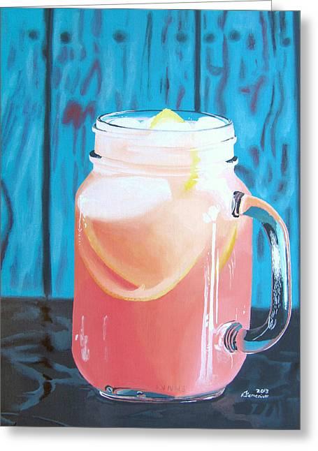 Grapefruit Paintings Greeting Cards - Summer in a Mug Greeting Card by Kayleigh Semeniuk