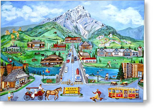Canmore Artist Greeting Cards - Summer in Banff Greeting Card by Virginia Ann Hemingson