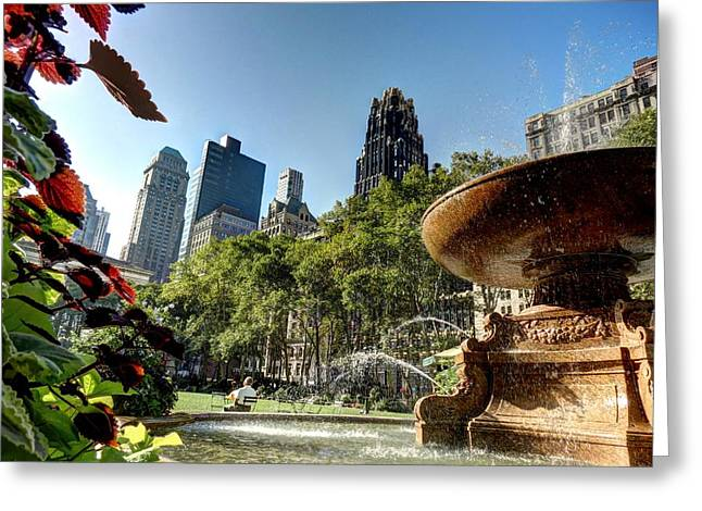 Bryant Greeting Cards - Summer in Bryant Park Greeting Card by Terry Bean
