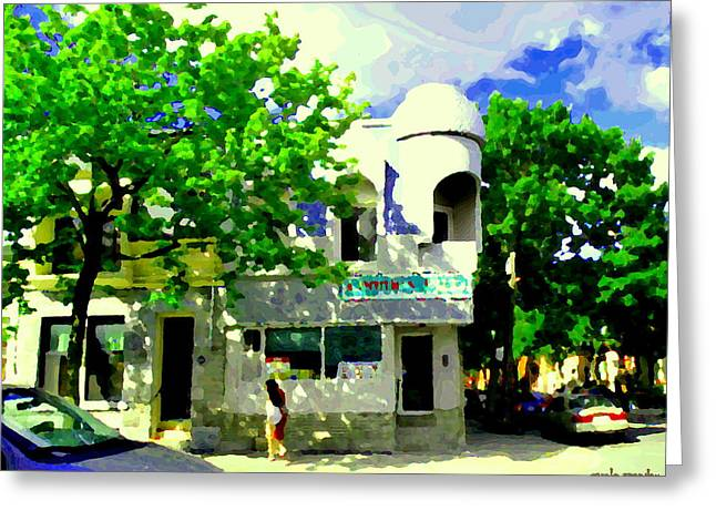 Verdun Pizza Greeting Cards - Summer In Psc Pizza At Connies Pizzaria And Hamburgers City Scene Sud Ouest Montreal Carole Spandau Greeting Card by Carole Spandau