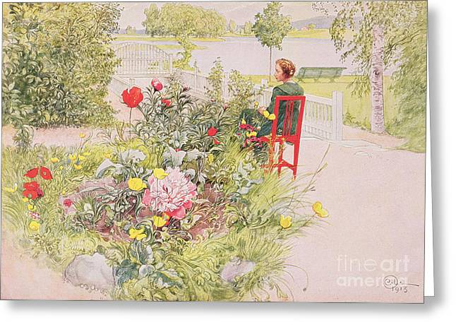 Sit-ins Greeting Cards - Summer in Sundborn Greeting Card by Carl Larsson