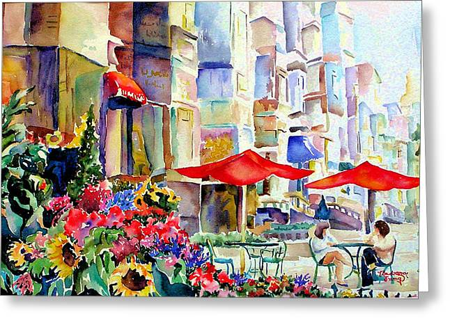 Garden Scene Mixed Media Greeting Cards - Summer in the City Greeting Card by Barbara Jung