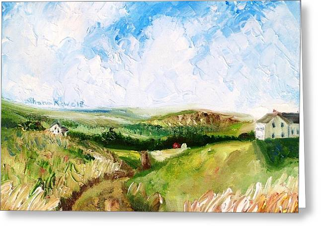 Maine Farms Paintings Greeting Cards - Summer in the Dale  Greeting Card by Shana Rowe