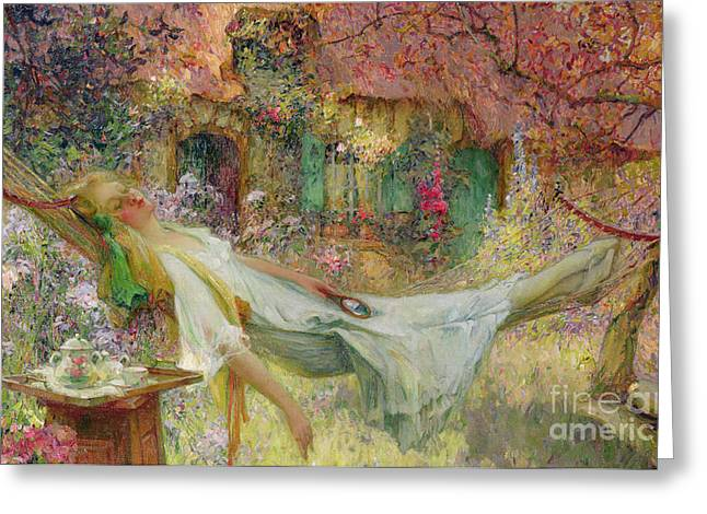 Girl In The Hammock Greeting Cards - Summer in the Garden Greeting Card by Darien Henri-Gaston