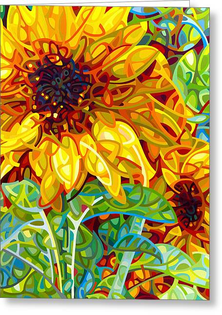 Dark Red Greeting Cards - Summer in the Garden Greeting Card by Mandy Budan