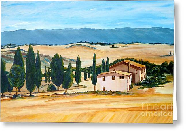 Acylic Painting Greeting Cards - Summer in Tuscany Greeting Card by Christine Huwer
