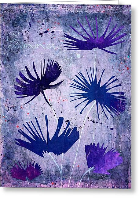 Purple Floral Greeting Cards - Summer Joy - 25c2 Greeting Card by Variance Collections