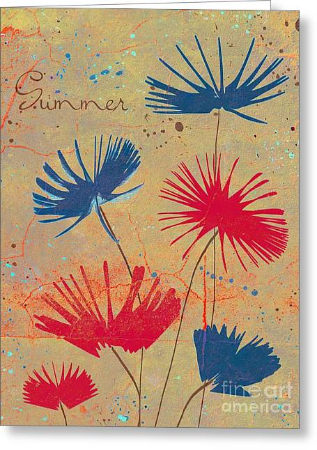 Blue Flowers Greeting Cards - Summer Joy - jy04bb Greeting Card by Variance Collections