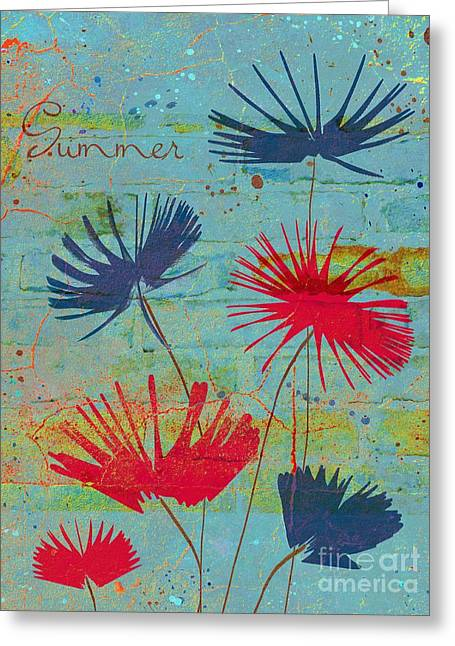 Blue Flowers Greeting Cards - Summer Joy - jy44v2b Greeting Card by Variance Collections