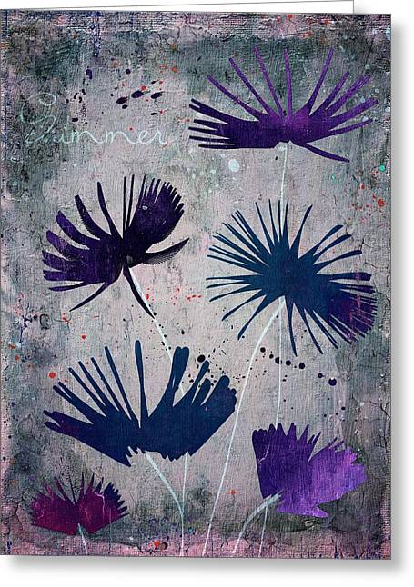 Purple Floral Greeting Cards - Summer Joy - s25b Greeting Card by Variance Collections