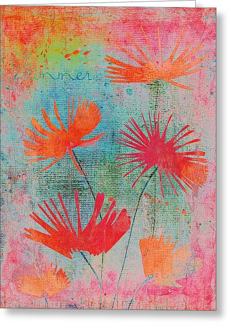 Texture Floral Digital Greeting Cards - Summer Joy - s44a Greeting Card by Variance Collections