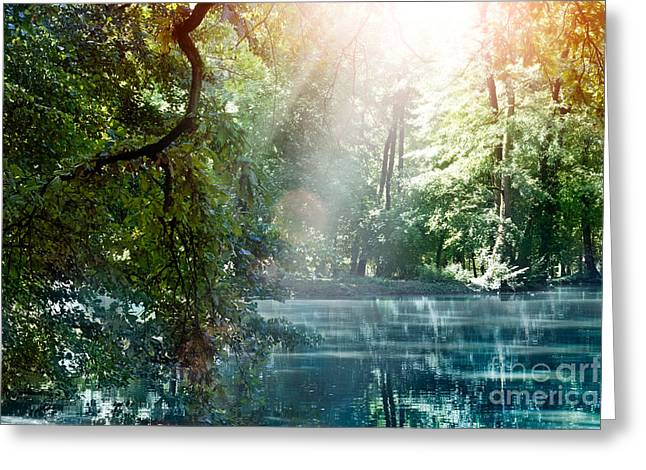 Mythja Greeting Cards - Summer lake Greeting Card by Mythja  Photography