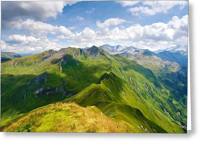 Green Day Paintings Greeting Cards - Summer landscape in mountains and the blue sky with clouds Greeting Card by Lanjee Chee