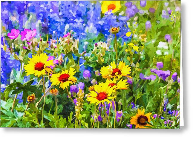 Rosette Paintings Greeting Cards - Summer landscape Greeting Card by Lanjee Chee