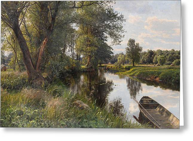 Floodplain Greeting Cards - Summer landscape with river floodplain Greeting Card by Peder Mork Monsted