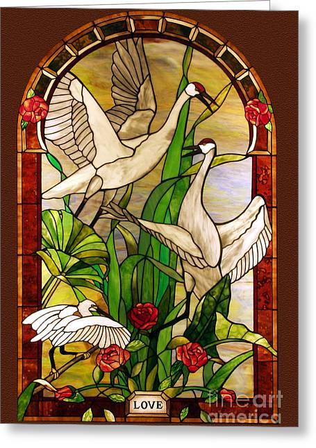 Sandhill Cranes Glass Art Greeting Cards - Summer-Love Greeting Card by John Emery