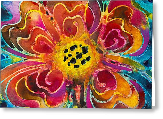 Floral Art Paintings Greeting Cards - Summer Love Greeting Card by Sharon Cummings