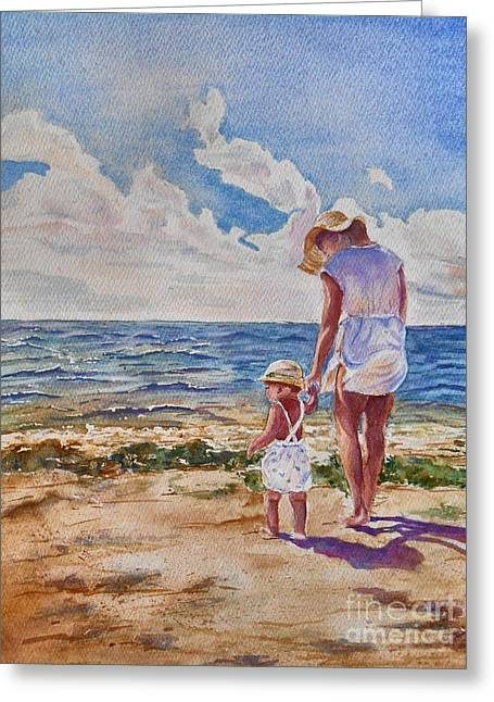 Children At Beach Greeting Cards - Summer Memories Greeting Card by Patricia Pushaw