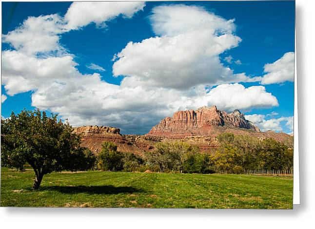 Geobob Greeting Cards - Summer Monsoon Clouds over Mount Kinesava Zion National Park Rockville Utah Greeting Card by Robert Ford