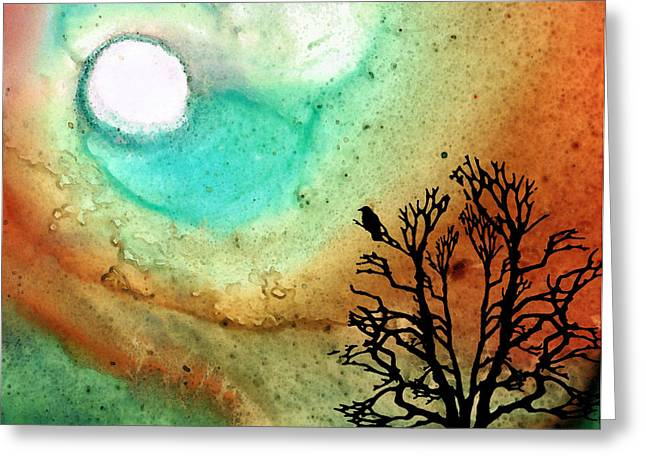 Crow Mixed Media Greeting Cards - Summer Moon - Landscape Art By Sharon Cummings Greeting Card by Sharon Cummings