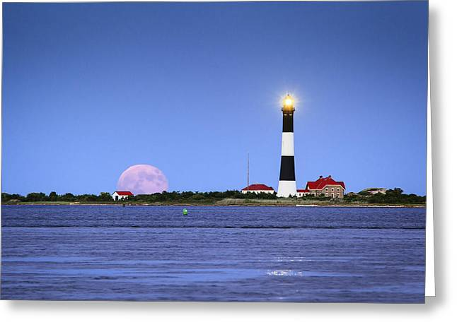 Fire Island Greeting Cards - Summer Moon Greeting Card by Mike Lang
