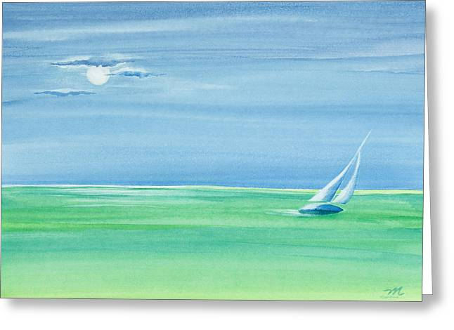 Summer Moonlight Sail Greeting Card by Michelle Wiarda