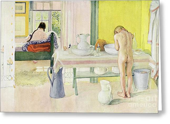 Washing Greeting Cards - Summer Morning pub in Lasst Licht Hinin Let in More Light Greeting Card by Carl Larsson