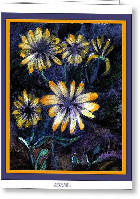 Primroses Mixed Media Greeting Cards - Summer Night Greeting Card by Rose Aune