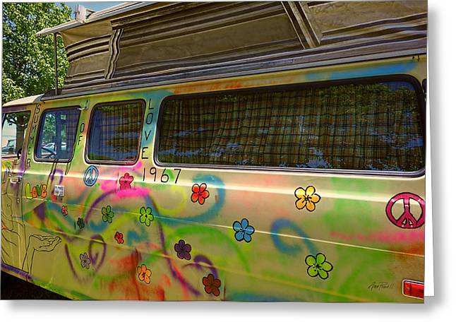 Psychedelic Van Greeting Cards - Summer of Love Van Greeting Card by Ann Powell