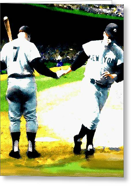 Best Sellers -  - Main Street Greeting Cards - Summer Of The Gods  1961 Mickey Mantle Greeting Card by Iconic Images Art Gallery David Pucciarelli